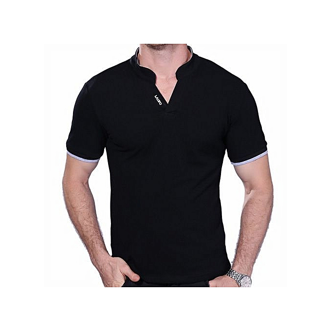 5a5b1a3499 New StuffMen's Tops Tees Summer New Polo Shirt Collar Short Sleeve T Shirt  Men Fashion T Shirt Size M/X/5XL-black