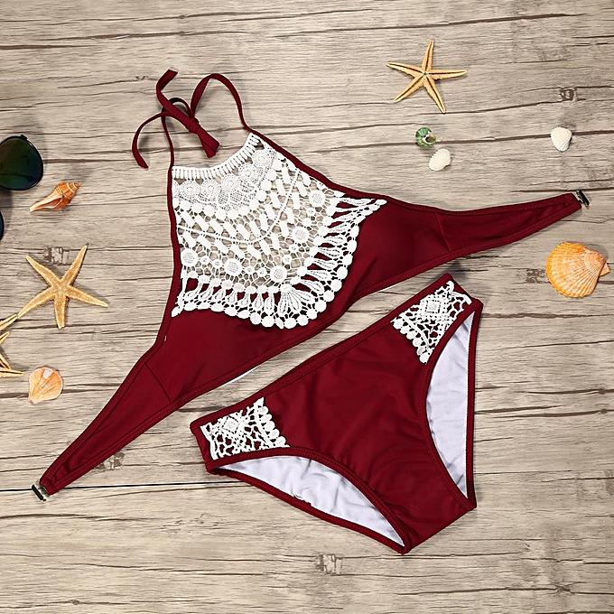 76fd43ca21 Womens Swimwear Bikini Intimate Bra Underwear Hollowed Biquini Bathing Set  Burgundy S