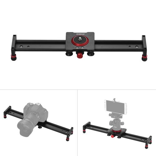 Andoer 40cm/16inch Aluminum Alloy Camera Track Slider Video Stabilizer Rail  for DSLR Camera Camcorder DV Film Photography, Load up to 11Lbs