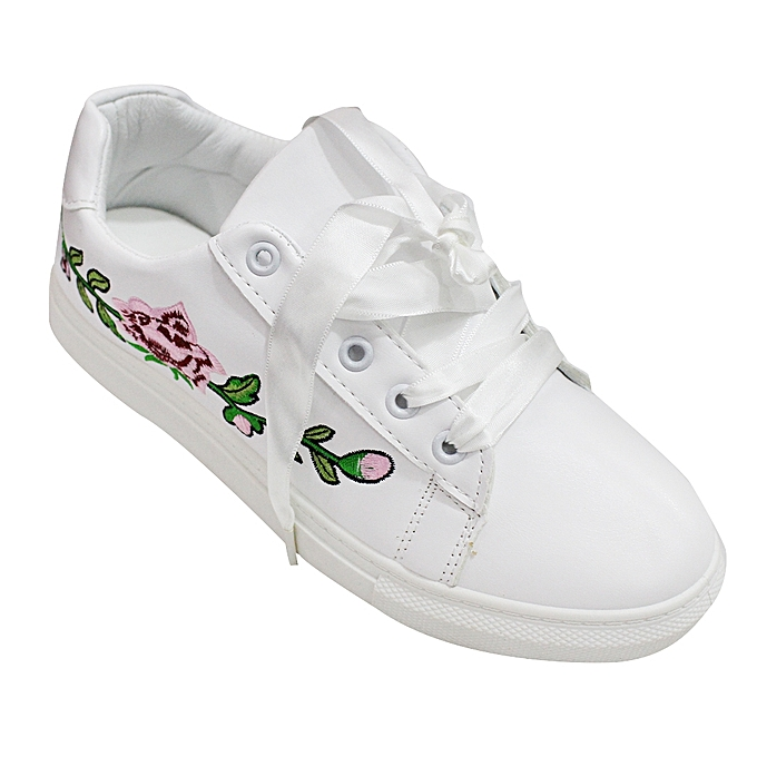 fb6bab5009b4 White Label Floral Detail Low Top Sneakers - White