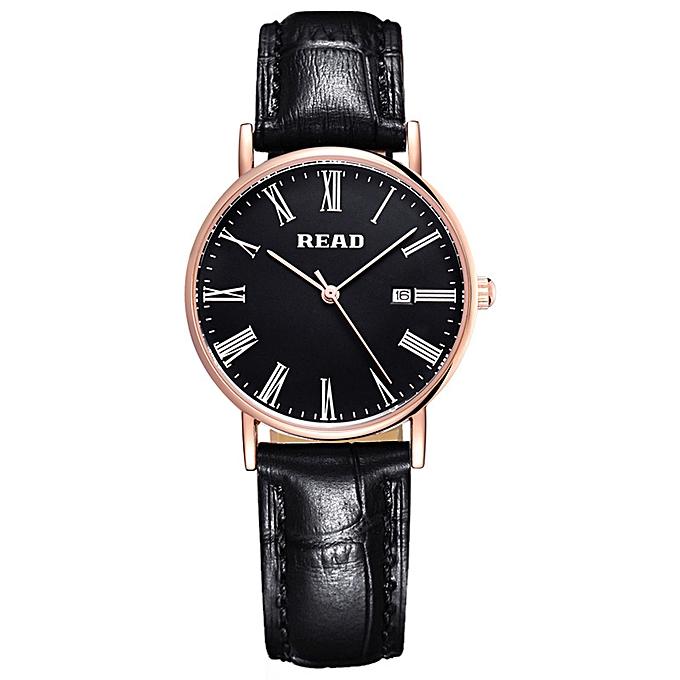 df6b91aa9 READ Auto Date Men Women Fashion Wristwatch Leather Strap 3ATM Water  Resistant Analog Quartz Watch