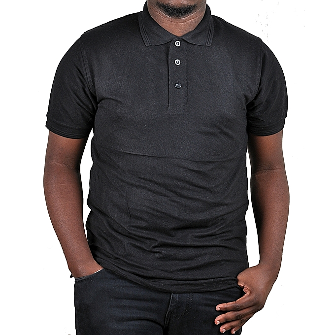 b16da5ac9ea3 Buy Generic Cotton Men's Polo Plain T-Shirt - Black online | Jumia ...