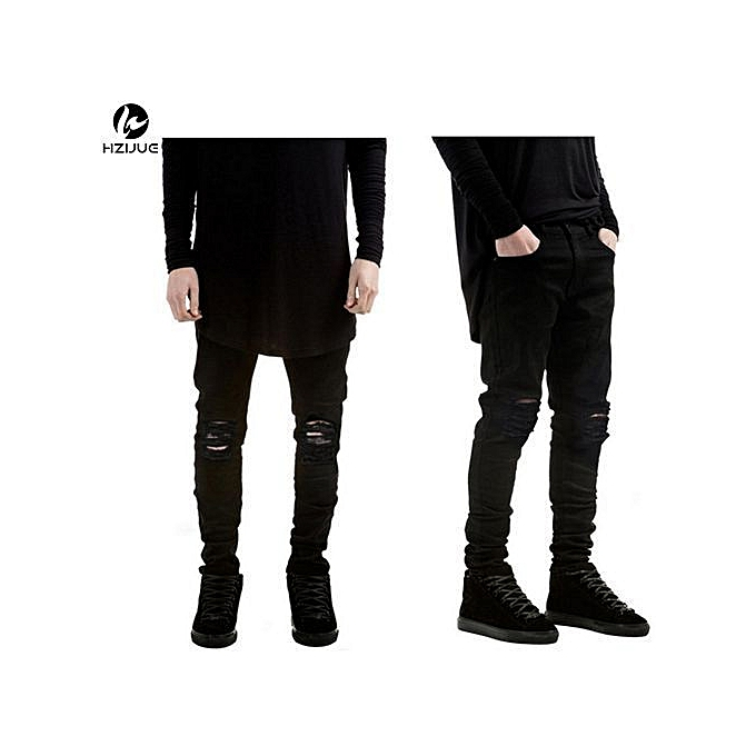 72793c20679 2017 New Black Ripped Jeans Men With Holes Super Skinny Famous Designer  Brand Slim Fit Destroyed