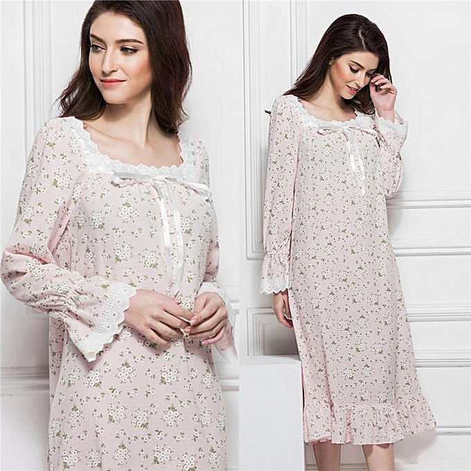 e70af8f9fbc Women Cotton Nightgown Mid-calf Length Long Sleeve Sleep Dress Sleepwear  Nightwear (Pink L