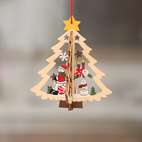 Wooden Christmas Hollow Pendant Christmas Tree Ornaments Hanging Party Decor Three Dimensional Tree Snowman