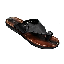 5853ff23d Ring Toe Leather Slip On Sandals - Black