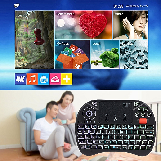 f6dc7b2d874 ... Rii i8X 2.4GHz Backlit Wireless Keyboard Touchpad Mouse Handheld Gaming  Remote Control for Android TV ...