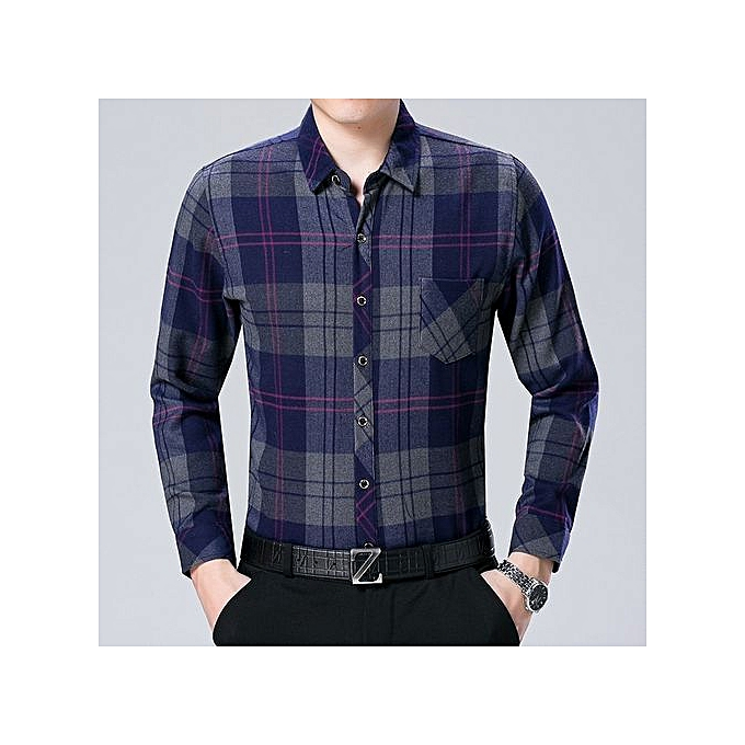 ed2ca1dd57eb88 ... Stylish Men Blouse Free Ironing Lattice Long Sleeve Shirt Tops ...
