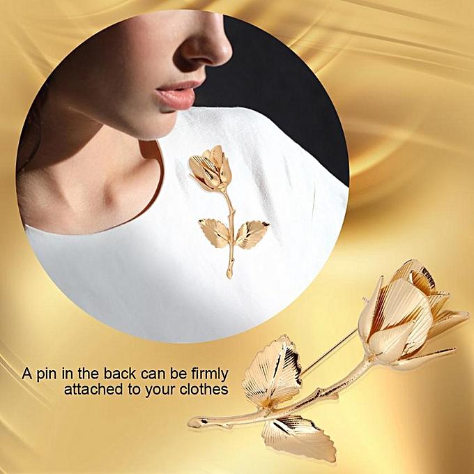 2Colors Women Rose Flower Brooch Elegant Wedding Dress Copper Pin Jewelry