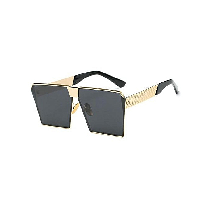 90ce5f02bf14 Woman Oversized Square Sunglasses Metal Frame Flat Top Street Fashion  Sunglasses Lenses Color:Gold frame