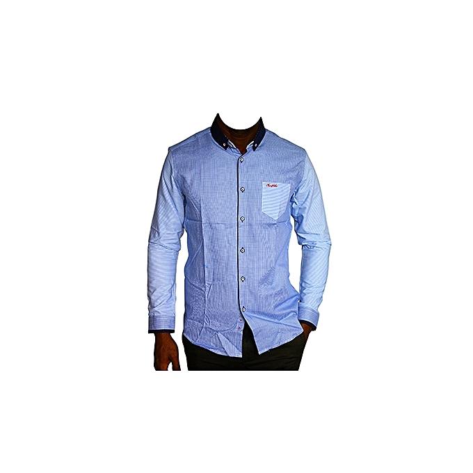 c33b9de93fa New Men s Designer Shirts Checked Blue.