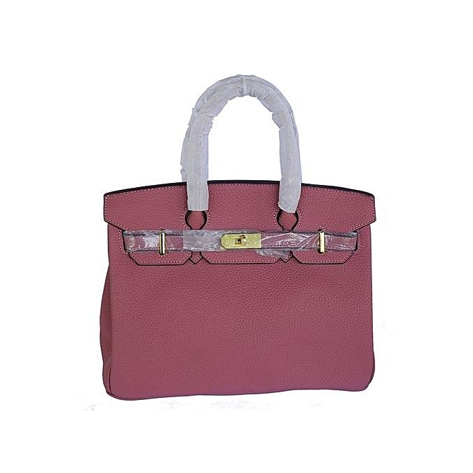 Designer Inspired Fashion Satchel Top Handle Handbag With Padlock Purple