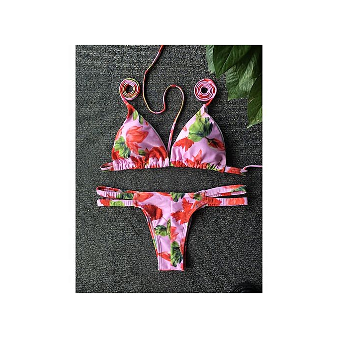 c37ec28a9216 Stylish Flower Print Halter Bikini Set For Women
