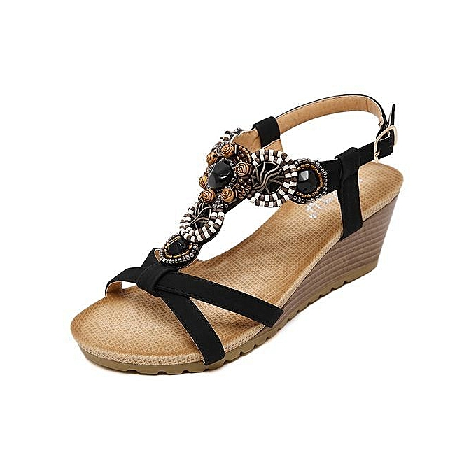 1804663850 New Style Large Size New Style Ethnic Women Sandals Bohemian Beaded Comfort  Buckle Wedge Sandals Shoes