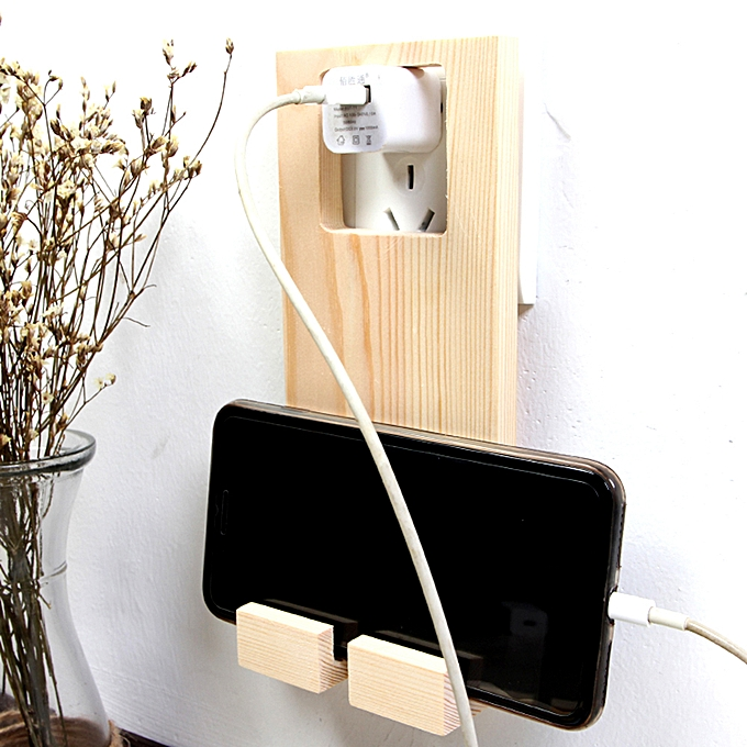 Wooden Mobile Phone Charging Rack Stand Holder Wall Plug Socket Home Bed  Lazy Tool