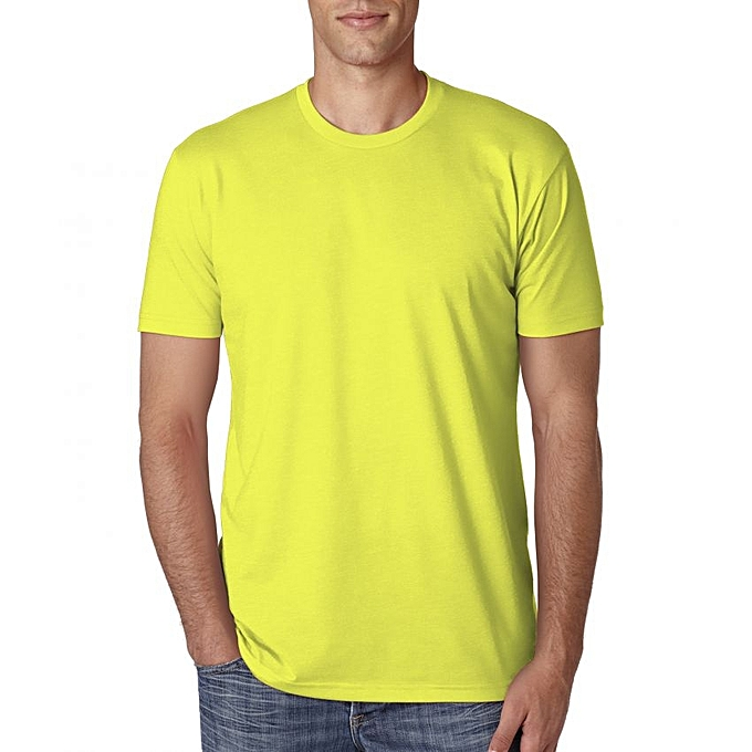 710699648636 Lemon Yellow Round Neck Designer T-Shirt