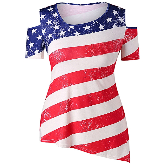 55921cdb83c277 Hiamok Women Casual Cold Shoulder Patriotic American Flag Printed Blouse  Tops