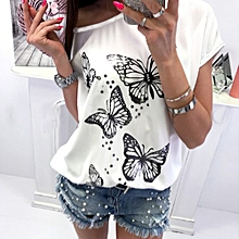 2e268ef7cbcabd Hiamok Women Butterfly Print T-Shirt Short Sleeve Off Shoulder Tops Casual  Blouse
