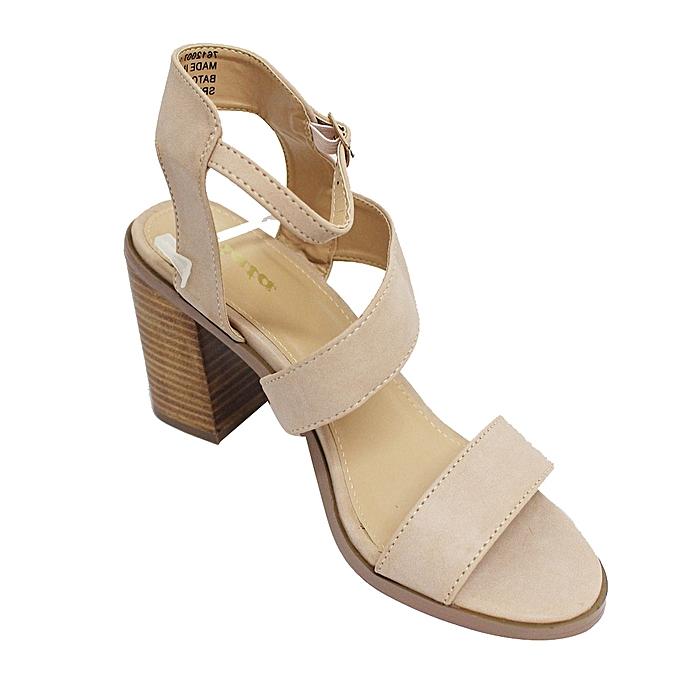 aedba2e4a25b ... Bata 761-2007 Ankle Strap Block Heel Shoes - Nude ...