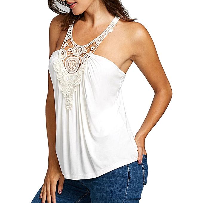 55ab7950c92 Hiamok Women's Solid Sleeveless Lace Stitching Crochet Lace Racerback Tank  Tops Blouse