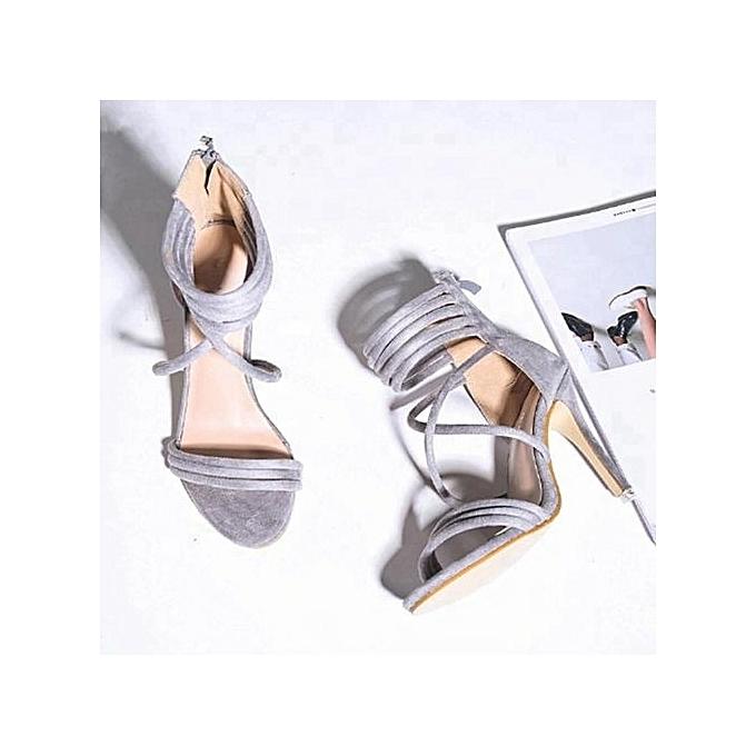 c9b0153cc18 Strappy High Heel Shoes - Grey