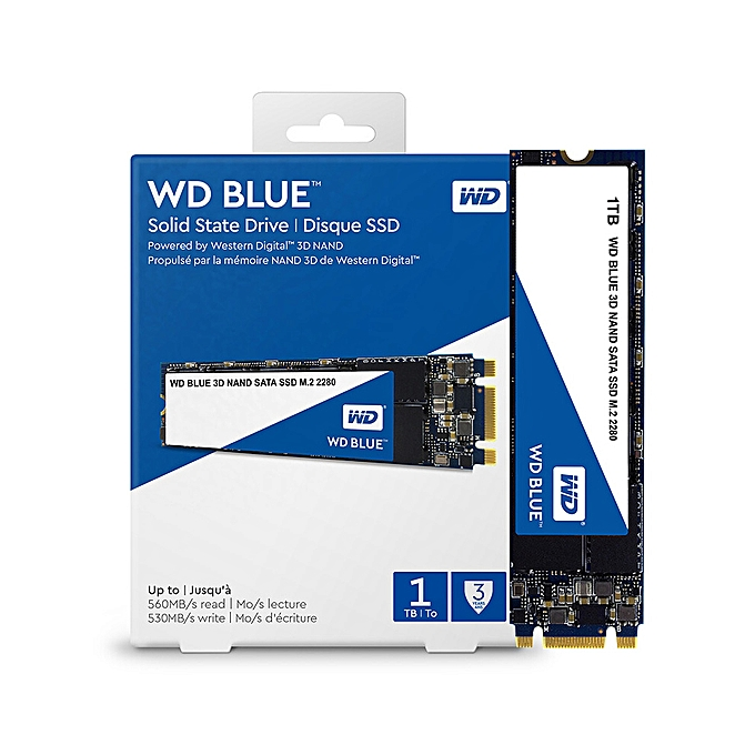 Western Digital WD Blue 1TB PC SSD 3D NAND SATA3 6GB/s M 2 2280 Solid State  Drive Hard Disk for PC Laptop(WDS100T2B0B)