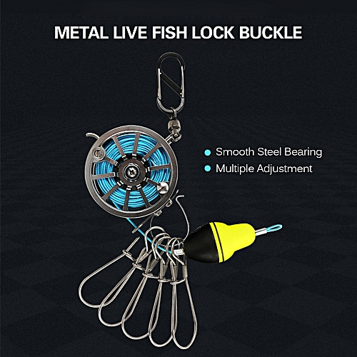 Live Fish Lock Buckle with Reel and Float Stainless Steel 5 Snaps Fishing  Stringer Clips Tackle
