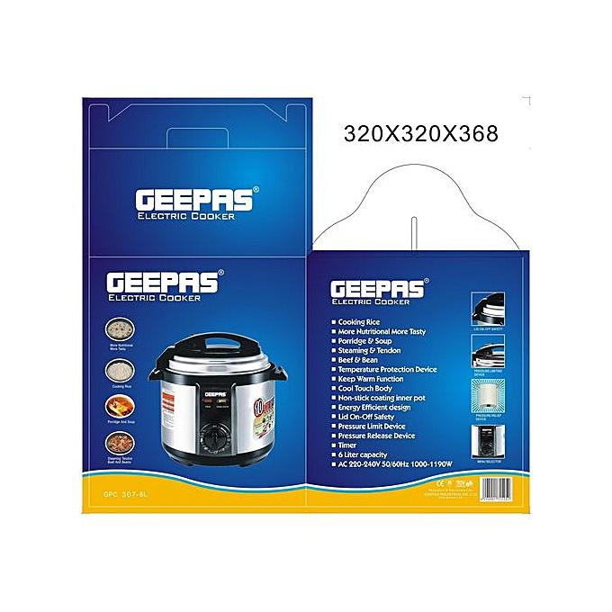 e17e85e9a5b Geepas Geepas GPC-307-6L Electric Cooker - Silver