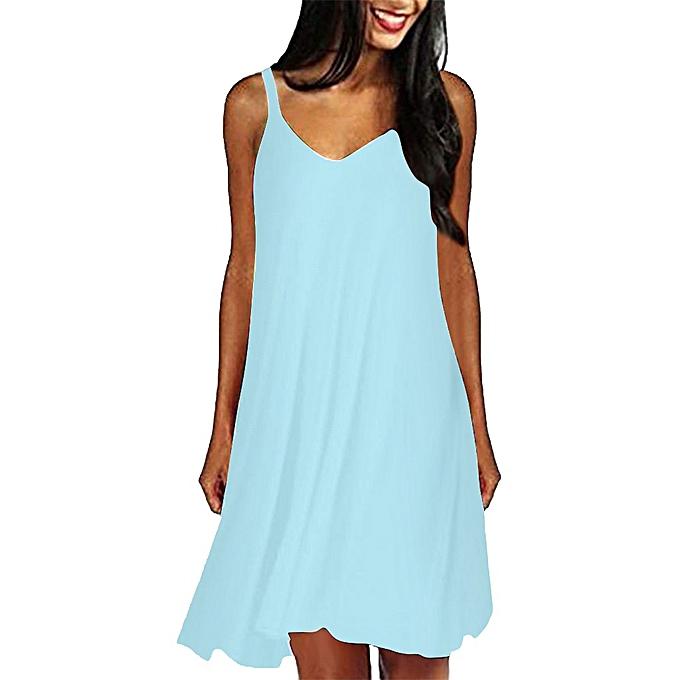 dcb68404fa889 Women's Casual Plain Simple T-Shirt Loose Summer Dresses Sundress