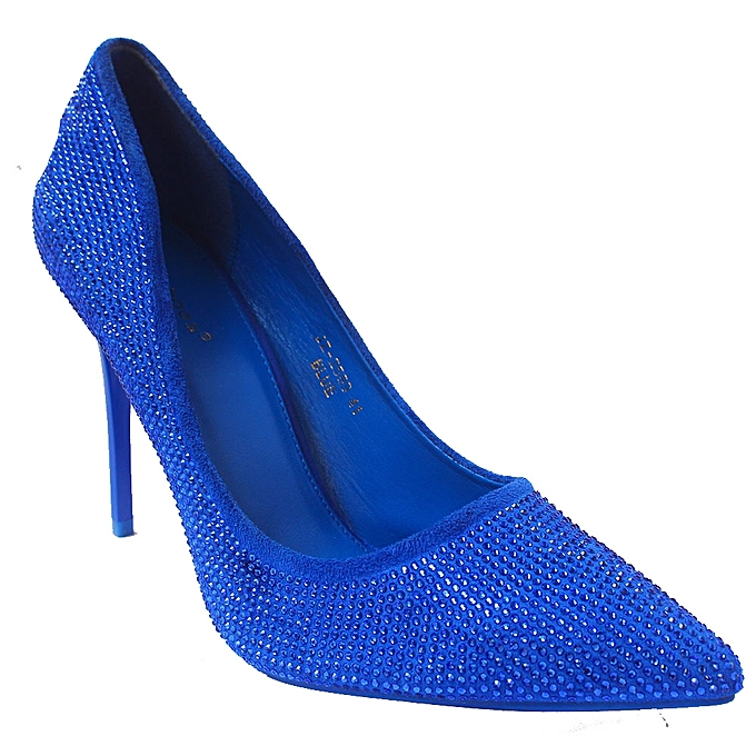 Studded Pointed Toe Heel Shoes - Blue  31fc8a4be