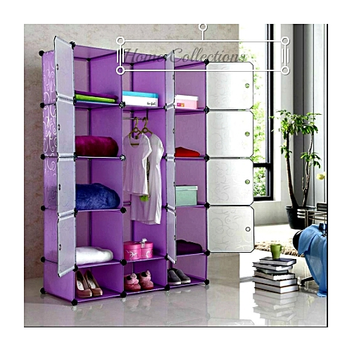 Buy Home Fashion Portable 3 Column Plastic Cloth Wardrobe   Purple Online |  Jumia Uganda