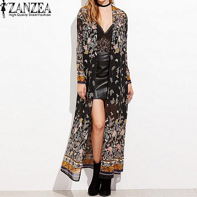 b21e8cbbc4 ZANZEA Vintage Womens Long Sleeve Boho Floral Printed Chiffon Kimono V-Neck  Summer Beach Maxi
