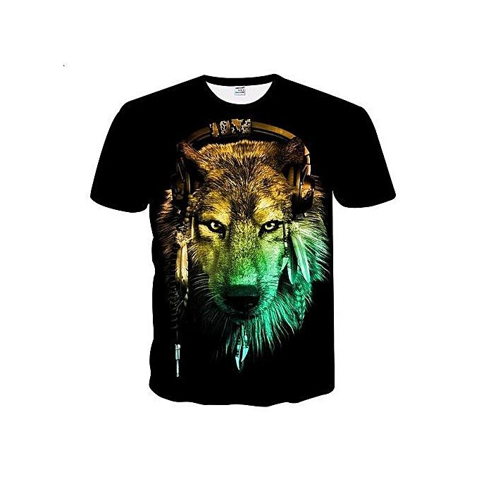 Stylish 2018 New Men's Wear Wolf Digital Printing Short Sleeves T-shirt