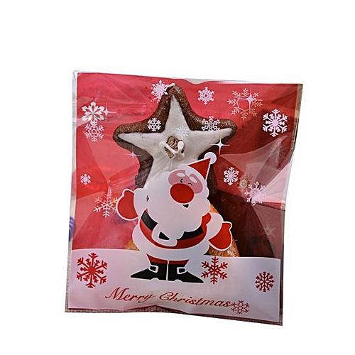 Hiamok 100pcs Semi Transparent Christmas Cookies Food Biscuit Packaging Bags