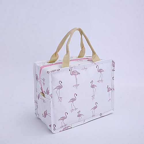 542026c1e63e EQUEEN Portable Insulated Canvas Lunch Bag Flamingo Printed Lunch Bags Tote  Thermal Food Picnic Boxes Women Cute Fruit Storage#White Flamingo
