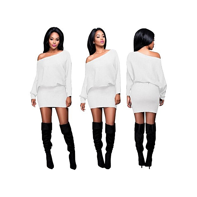 72b7061b7566 New Stuffbatwing Sleeve Off The Shoulder Fashion Night Club Autumn Winter  Women Mini Dresses Bandage Sexy