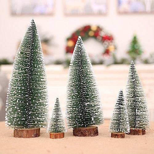 Mini Pine Needles Christmas Tree Bonsai Sticky White Snow Flocking Trees  green&white 250*120*120mm