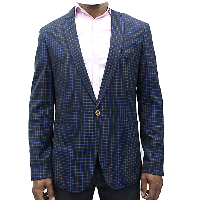 New Men's Checkered Blazer - Blue