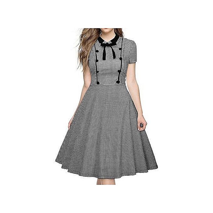 fe185d0b17f4d 2017 Plus Size Summer Women Vintage Dress Audrey Hepbum 50s Rockabilly  Retro Christmas Party Dress Vestidos-black