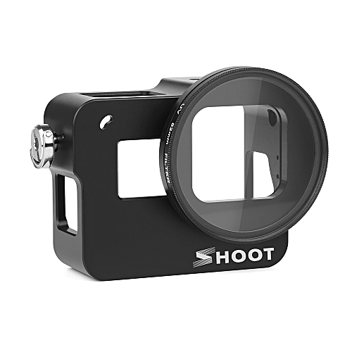 SHOOT XTGP505A Protective Aluminum Alloy Camera Cage Skeleton Housing Case  with 52mm UV Filter for GoPro Hero 7 Black/Hero 6/Hero 5/HERO(2018) Action