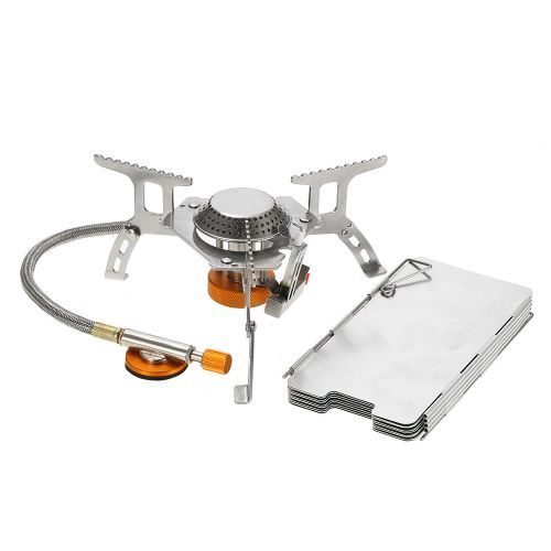 Lixada Outdoor Camping Stove Kit Ultralight Compact Foldable Backpacking  Gas Stove with 9-Plate Camp Stove Windscreen Windshield Cookware Set