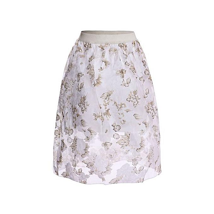 3940bbde51 Buy FASHION Floral Print High Waist Midi Skirt,White online   Jumia ...