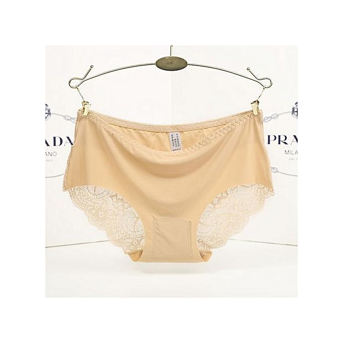 3f0510053623 Cotton Lace Ice Silk Seamless Women's Underwear Sexy Low Waist Triangle  Briefs-beige