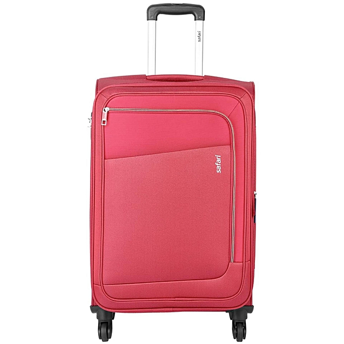 Safari Rush Trolly Bag Red Colour Good Quality Indian Material 4 Wheel Trolley