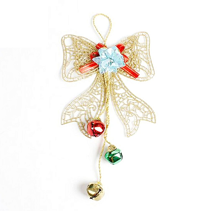 Christmas Bells Bowknot Decoration String Wall Pendant Christmas Tree Top gold