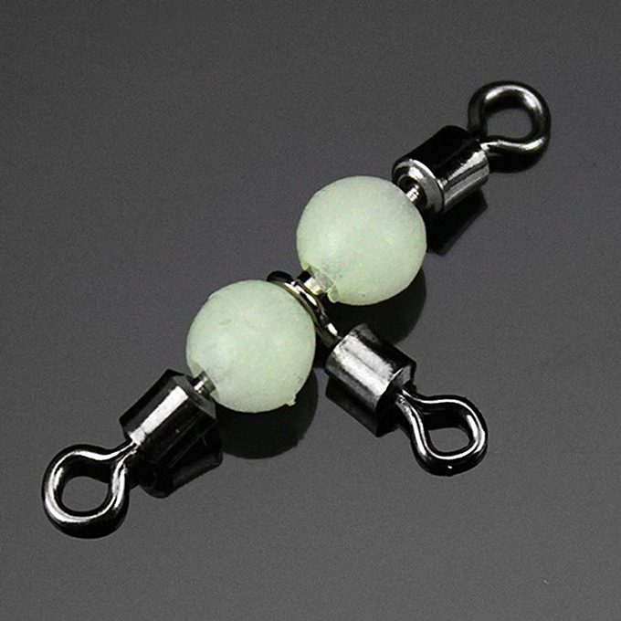 Triple Swivel With Luminous Beads Connector Trigeminal Swivel Fishing  Tackle green 20mm