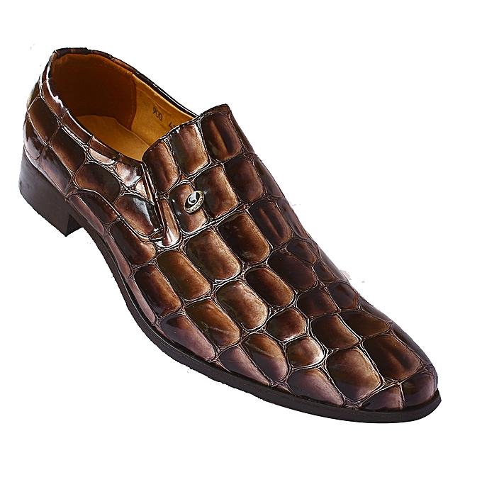 c890f43a3 White Label Croc Skin Slip On Dress Shoes Brown Jumia Uganda