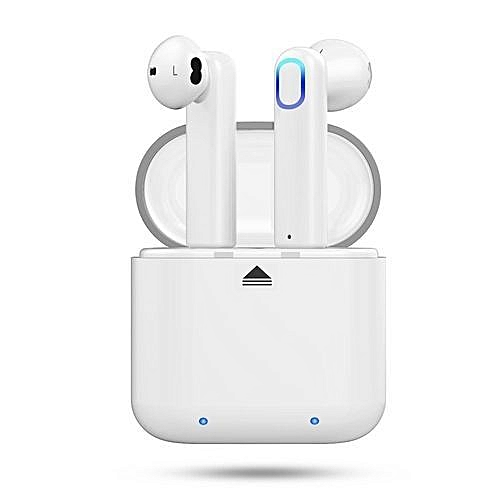 Wireless Earbuds, Bluetooth Headphones Mini In-Ear Headsets Sports Earphone  With Noise Cancelling Built-in Mic And Charging Case - White