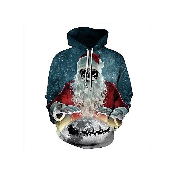 Christmas Hoodies.Stylish Santa Claus Skull Print Christmas Hoodie