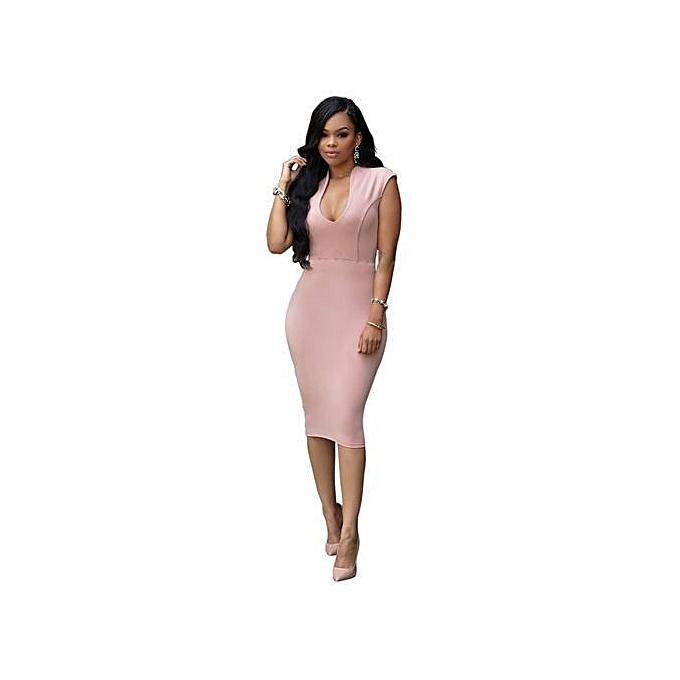 b86af6c58322 Hot Sale Sexy Women Sleeveless Slim Fit Causal Dress Evening Dress-Pink